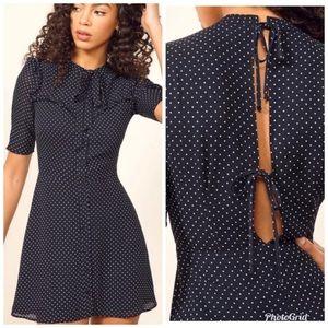 NWT Reformation Navy Polka Dot Kinsly Dress Size 6
